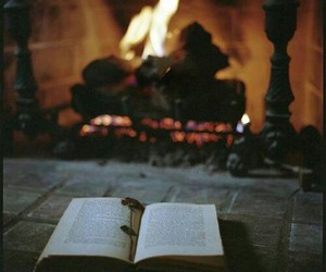 book, fire, and relax image