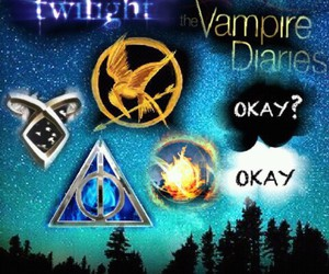 harry potter, twilight, and the vampire diaries image