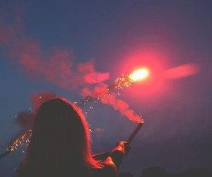 girl, fireworks, and light image