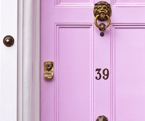 door, house, and pink image