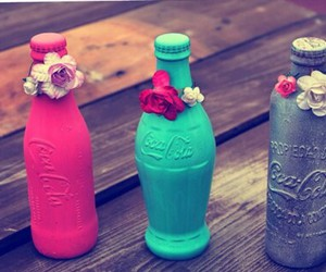 coca cola, flowers, and pink image