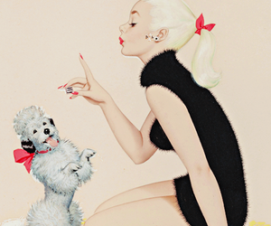 girl, Pin Up, and poodle image