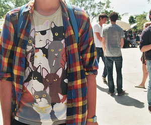 boy, cat, and shirt image