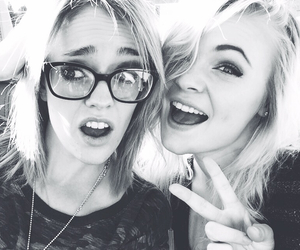 bff, black and white, and blonde image
