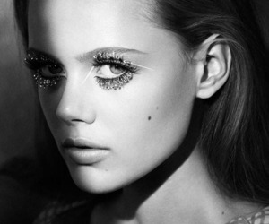 model, frida gustavsson, and black and white image