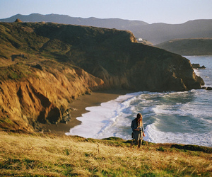 girl, sea, and nature image