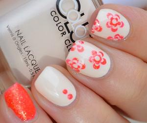 flowers, orange, and nails image