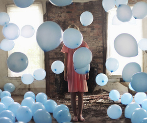 balloons, girl, and blue image