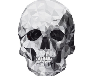 skull, black and white, and overlay image