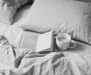 bed, black and white, and book image