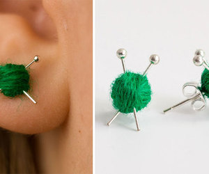 earrings, knitting, and want image