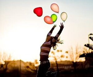 girl, balloons, and happy image