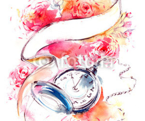 clock, painting, and watercolor image