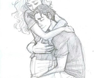 percabeth, couple, and drawing image