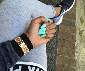 nails, nike, and blue image