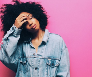 black girl, curly hair, and denim jacket image