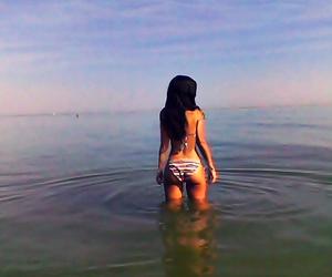 bikini, brunette, and hair image