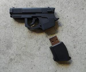 gun, usb, and grunge image