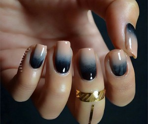 nails, black, and ombre image