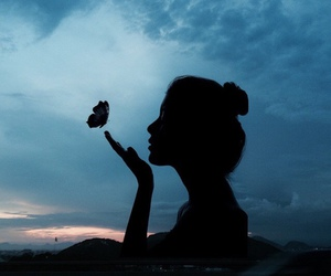 butterfly, girl, and night image