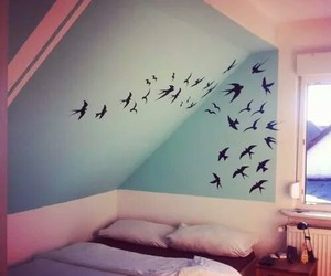 bedroom, birds, and blue image