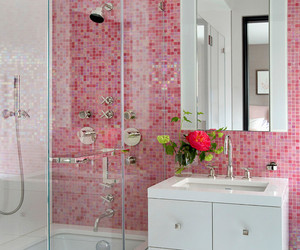 bathroom and pink image