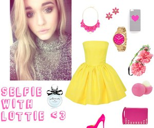 outfit, pink, and yellow image