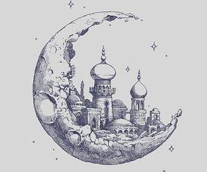 moon, drawing, and art image