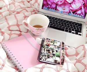 tea, girly, and laptop image