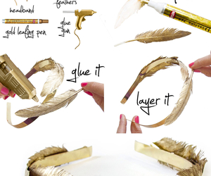 diy, headband, and feather image