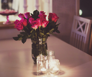 flowers, rose, and candle image