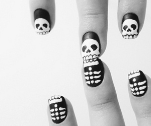 dia de los muertos, nails, and skeleton image