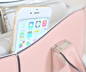 iphone, pink, and bag image