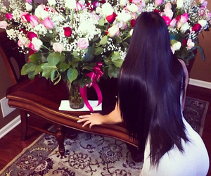 flowers, hair, and black image