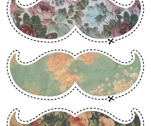 mustache, moustache, and flowers image