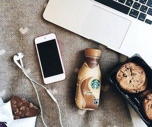 starbucks, iphone, and chocolate image