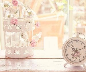 cage, clock, and shabby chic image