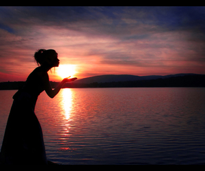 girl, sunset, and landscape image