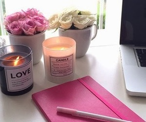 candle, flowers, and love image