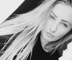 pretty face, black and white, and girl image