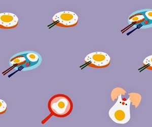 breakfast, eggs, and wall paper image