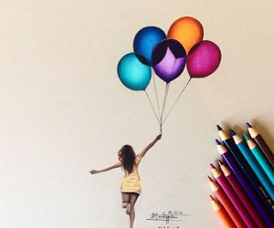 art, balloons, and drawing image