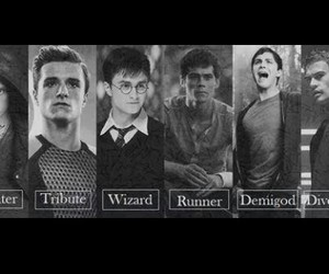 harry potter, percy jackson, and the maze runner image