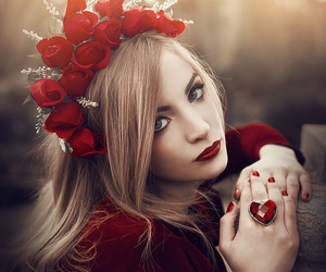 red, girl, and rose image