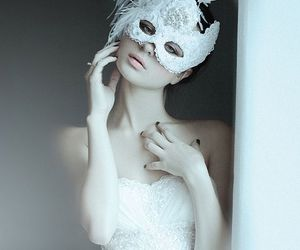 white, mask, and dress image