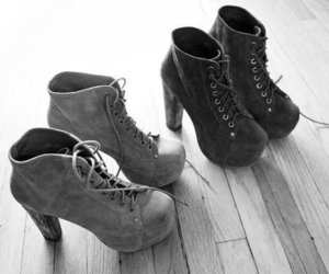 black and white, boots, and fashion image