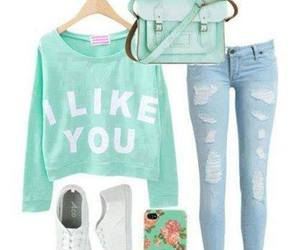 jeans, cartera, and verde image