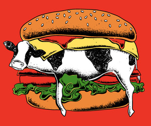 burger, cow, and food image