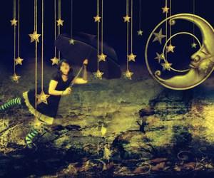 art photo, moon, and stars image
