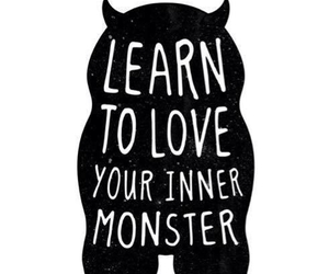 quote, monster, and black and white image